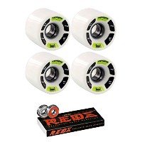 60 mm Kebbek Skateboards tepaqan Longboard Skateboard Wheels with Bones Bearings – 8 mm Bones Reds...