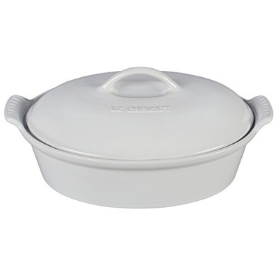 Le Creuset Stoneware Heritage Covered 2.25qt。Oval Casserole – ホワイト