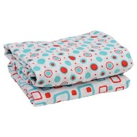 juDanzy Geometric Turquoise & Red 100% Cotton Swaddle Set of 2 Large 45X45 Muslin Baby Girl or Boy...