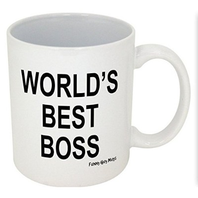 (330ml, Worlds Best Boss White) - World's Best Boss- Middle Finger On The Bottom- Funny Ceramic...