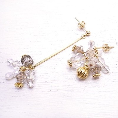 メモリスタジオ[MEMORI STUDIO] [ DEW SERIES #006 ] After the rain asymmetry pierced earring de-86-me-07