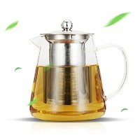 Luxteaガラスティーポット25oz with Stainless Steel Infuserと蓋の咲き乱れるand Loose Leaf Tea 25oz 透明