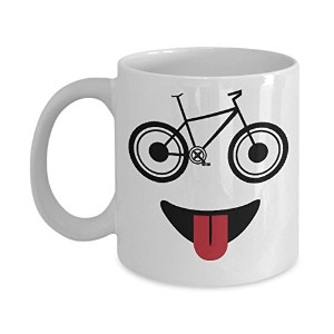Mountain Bike Mug Funny自転車Face with GlassesライダーCyclingコーヒーカップ