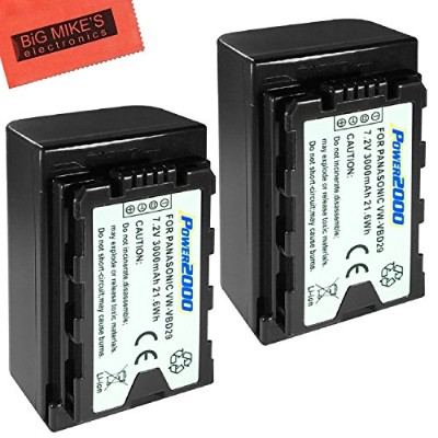 2 パック of VW-VBD29 Batteries for Panasonic AG-3DA1, AG-AC8, AG-DVC30, AG-DVX200MC, AG-HPX171, AG...