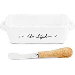 """Mud Pie Gratitude Mini Loaf Pan with Spreader 8"""" long ホワイト 4804007"""