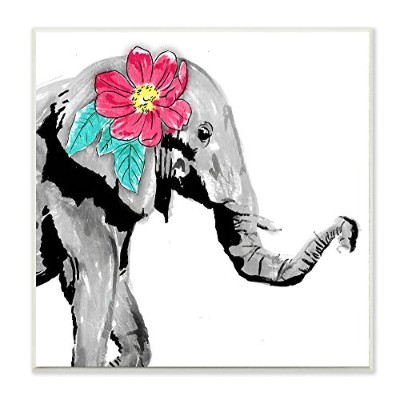 Stupell Decor Elephant with Floral Pop Wall Plaqueアート mwp-214_wd_12x12