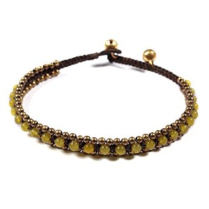 "lannaclothesdesign Womens Beaded Anklet With真鍮ビーズ調節可能な9.5 "" イエロー"