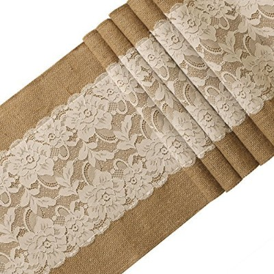 Ling's moment Burlap Table Runner With Off White Lace Rustic Wedding Decoration, Fall Decor, 12x108...