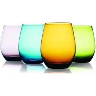 魅力的なSet of Four ( 4 ) Unique Colored Stemless Wine Glasses 16-oz ~ Party Drinking Glassware Set