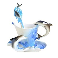 Kobwa ( TM ) Cute DolphinハンドメイドPorcelain Tea Mugコーヒーカップセットwith Spoon and Saucer with Kobwa 's...
