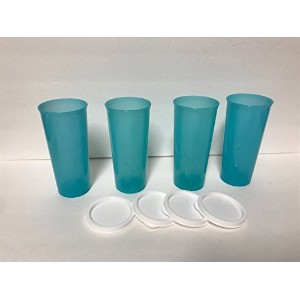 Tupperware Tropical Water 12ozタンブラーのセット4withフラットホワイトシール