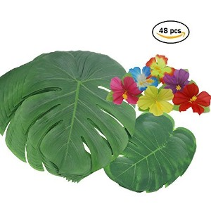 Tropical Leaves andハイビスカス花、人工フェイクグリーンPalm Leaves Plants ForハワイアンルアウPatry装飾、48pack合計