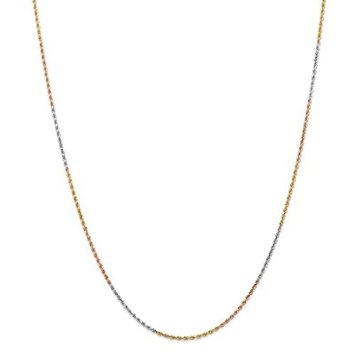 14K 3色ゴールド1.5MM faceted-cutロープチェーンネックレス