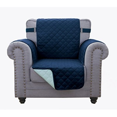 (Chair, Navy/Blue) - Superior Quality Reversible Chair Cover 160cm X 190cm -Furniture Protector For Pets, Kids, Dogs-Large Sofa, Standard Sofa, Loveseat, Recliner and Chair (Chair-Navy/Blue)