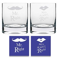 Yaya Cafe Engraved Mr Right Mrs Always Right Whiskeyガラスのセット2 withコースター