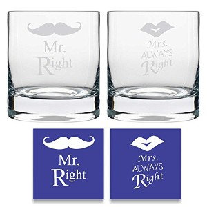 Yaya Cafe Engraved Mr Right Mrs Always Right Whiskeyガラスのセット2withコースター