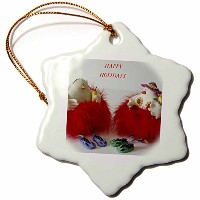 3dローズFloreneクリスマス–Holiday Chickens–Ornaments 3 inch Snowflake Porcelain Ornament orn_34665_1