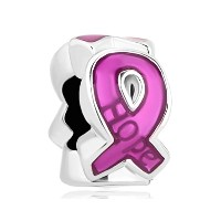 Charmed Breast Cancer Awarenessチャームピンクリボンのチャームビーズブレスレット