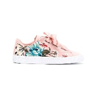 Puma embroidered floral low top sneakers - ピンク&パープル