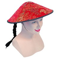 Bristol Novelty Chinese Coolie Red Fabric Hat + Plait Hats - Men's - One Size