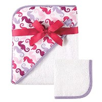 Hudson Baby Print Woven Hooded Towel and Washcloth, Girl, Seahorse Print by Hudson Baby