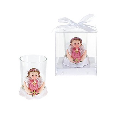 Lunaura Religious Keepsake - Set of 12 Girl Baby Angel Praying with Cross Votive Candle Set Favors ...