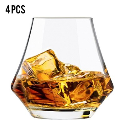 Top Whiskey Glass 4pcs 280ml Hand Blown Unique Scotch Glass Narrow Tapered Rim Wide Bowl Easy Swirl...