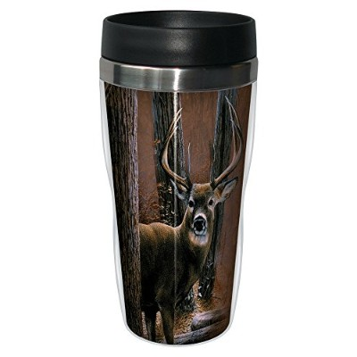 Tree-Free Greetings TFG77000 Woodland Sentry Buck Travel Tumbler