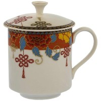 Gracie China by Coastline Imports 2-Piece Golden Peony and Bow Tea Mug with Lid Set, 13-Ounce by...