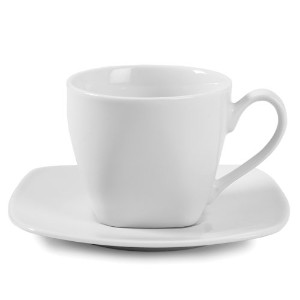 Gourmet Whiteware Collection, Square Cup and Saucer Set by Fitz and Floyd