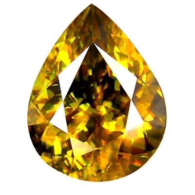 スピン ルーズジェムストーン 5.54 ct PGTL Certified AAA+ Grade Pear Cut (13 x 10 mm) Un-Heated Greenish Yellow...