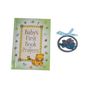 Baby's First Book of Prayers and 2 1/2X1-Inch Guardian Angel Crib Medal Blue Ribbon by CA