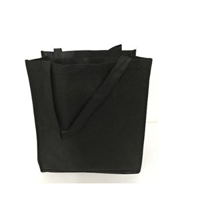 Promotional Non Woven ToteバッグW /マチ付き、Mサイズショッピングトートバッグ ブラック