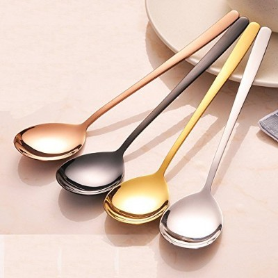 Saibang Stainless Steel Long Soup Spoon Table Spoon Tea Spoons, 8-inch, Set of 5 (Rose Gold) by...