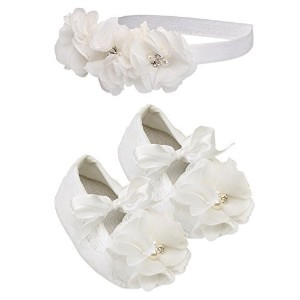 Petals Ivory Lace Baptism Christening Shoe and Headband Set for Baby Girl (Size 1) by Cherished...