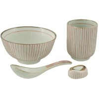 (Red) - Japanese Traditional Tokusa Pattern Dinnerware Set for 1 with Ceramic Rose Bowl Sushi...