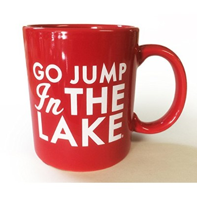 red-lake家コーヒーmug- Go Jump in the lake-ホワイトテキストonレッドマグ