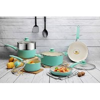 cooksmarkホワイトセラミックNonstick Cookware Set , Aluminum Pots and Pans with 2キッチン食器、ブルー