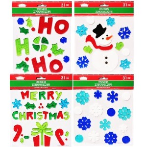 Assortment ofクリスマスGel Clings 。Includes ( 4)シート, Including a雪だるま、Merryクリスマス、Ho Ho Ho、A Present...