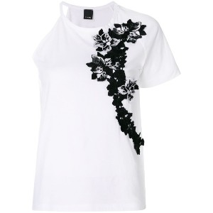 Pinko floral embroidered one sleeve top - ホワイト