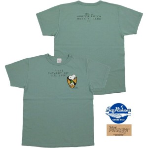 "BUZZ RICKSON'S×PEANUTS/バズリクソンズ×ピーナッツ S/S T-SHIRT""FIRST CAVALRY DIV."" スヌーピープリントTシャツ SAGE GREEN..."