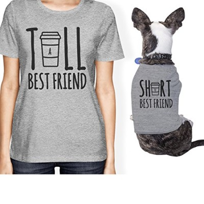 Tall Short Cup Small Dog Owner Matching Apparel Gift Grey Tee Shirt