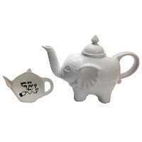 "BIA Cordon Bleu象ティーポットwith手描き風Teabag RestホルダーSaying "" You are my cup of tea "" – Perfect Gift for..."