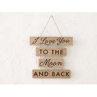 """Big Day """" I Love You To The Moon And Back """" Sectioned Wooden Wall Plaque素朴なウェディングデコレーションHanging Sign"""