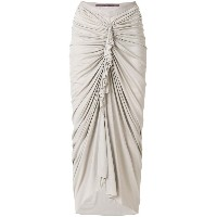 Rick Owens Lilies ruched woven midi skirt - ヌード&ナチュラル