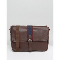 エイソス メンズ ビジネス系 バッグ ASOS Satchel In Faux Leather In Burgundy With Taping Design Burgundy