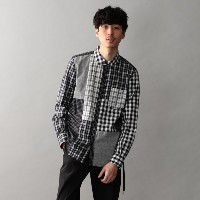 【GUILD PRIME ギルドプライム】 FINEBOYS掲載【Education from Youngmachines】MENS パッチワークチェックシャツ チャコールグレー メンズ