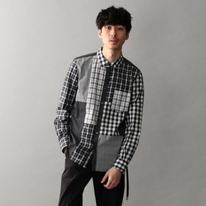 SALE【ギルドプライム(GUILD PRIME)】 FINEBOYS掲載【Education from Youngmachines】MENS パッチワークチェックシャツ チャコールグレー