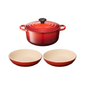 LE CREUSET/ル・クルーゼ シグニチャー ココット・ロンド 20cm チェリーレッド セット
