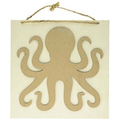 """Darice Layered Wood and MDF Octopus Plaque、10"""" x 10"""""""